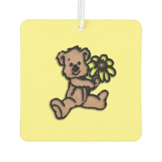 Daisy Bear Design Yellow Car Air Freshener