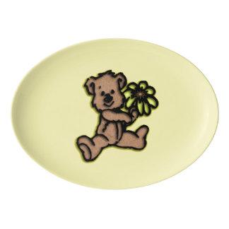 Daisy Bear Design Yellow Porcelain Serving Platter