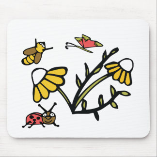 Daisy, Bee, Butterfly and Ladybug Mouse Pad