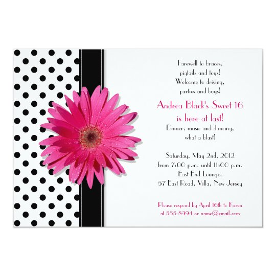 Daisy Black White Polka Dot Sweet 16 Invitation