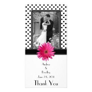 Daisy Black White Polka Dot Wedding Photocard Custom Photo Card