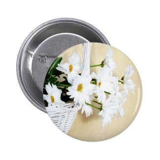 Daisy Blossoms Flowers and Wicker Basket Pinback Buttons