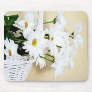 Daisy Blossoms Flowers and Wicker Basket Mousepads