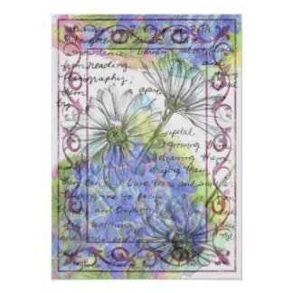 Daisy Blue Hydrangea Watercolor Flowers Poster