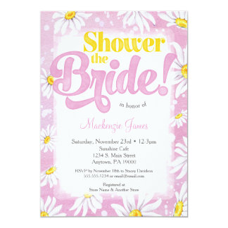 Daisy Bridal Shower Invitation Pink Yellow Floral