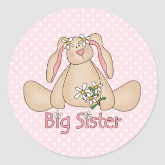 Daisy Bunny Big Sister Round Sticker