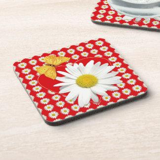 Daisy Butterfly Heart Drink Coaster