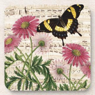 daisy Butterfly Music Coaster
