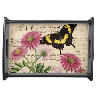 Daisy Butterfly Music Serving Tray