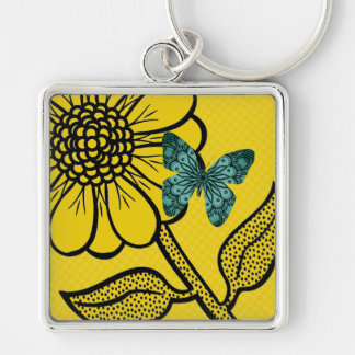 Daisy Butterfly Tropical Keyring