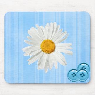 Daisy Button Blue Mouse Pad