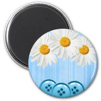 Daisy Button Magnet Blue