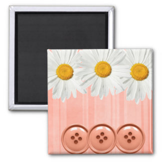 Daisy Button Magnet Pink