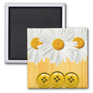 Daisy Button Magnet Yellow