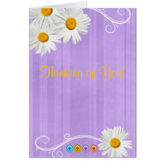 Daisy Button Notecard Purple Greeting Cards