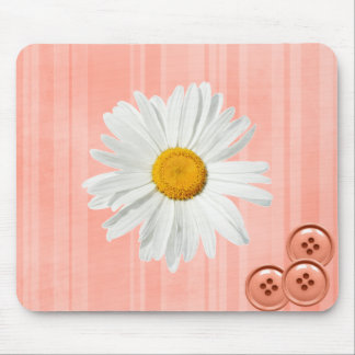 Daisy Button Pink Mouse Pads