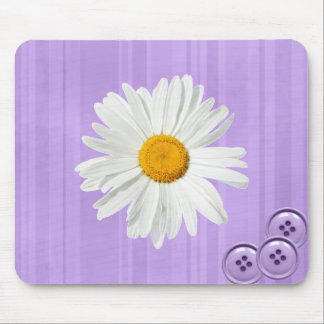 Daisy Button Purple Mouse Pad