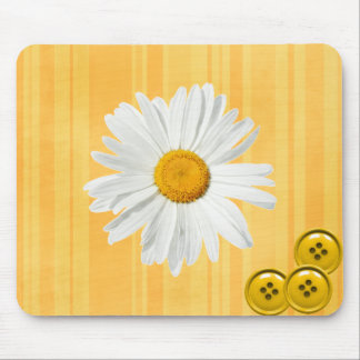 Daisy Button Yellow Mouse Pad