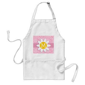 Daisy; Carnation Pink Damask Pattern Adult Apron