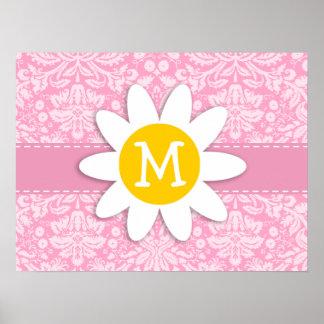 Daisy; Carnation Pink Damask Pattern Print
