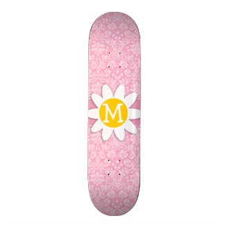 Daisy; Carnation Pink Damask Pattern Custom Skate Board
