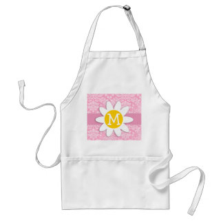 Daisy; Carnation Pink Damask Pattern Standard Apron