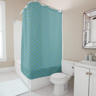 Daisy chain circles on sea green shower curtain