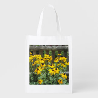 Daisy Cluster Weathered Fence Grocery Bags