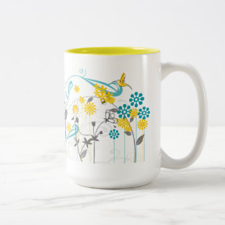 Daisy Coffee Mug in yellow and grey