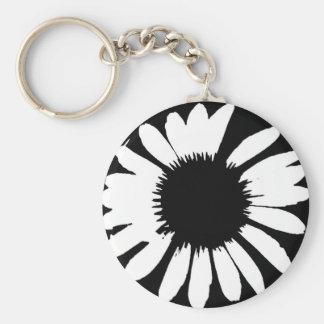 Daisy Crazy - Black & White Daisy Basic Round Button Key Ring