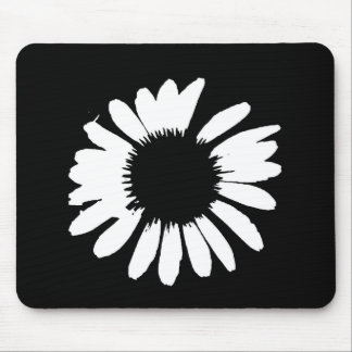 """Daisy Crazy"" - Black & White Daisy Mouse Pad"