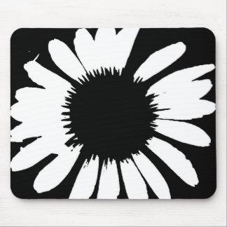 Daisy Crazy - Black White Daisy Mouse Pad