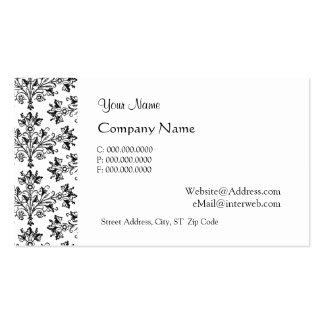 Daisy Damask Black White Custom Business Cards