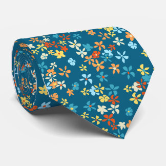 Daisy Dot Floral Teal Single-side Printed Tie