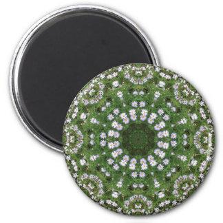 Daisy Fleabane White Wildflowers Mandala 6 Cm Round Magnet
