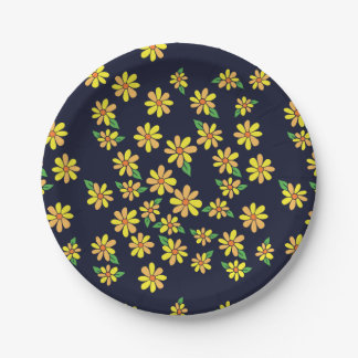 Daisy Floral Pattern Paper Plate