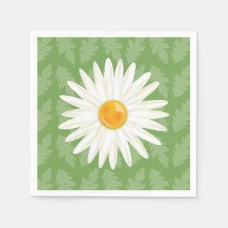 Daisy Flower Cartoon Illustration On Green Paper Napkin