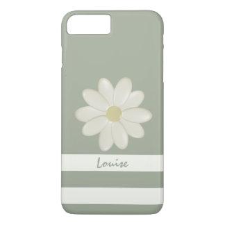 Daisy Flower Cream Stripes Sage Personalised iPhone 8 Plus/7 Plus Case