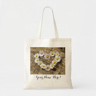 Daisy Flower Heart Tote Bag