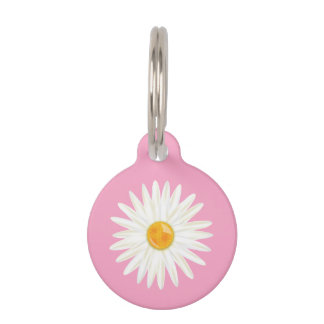 Daisy Flower Illustrated On Pink With Dog's Info Pet Name Tag
