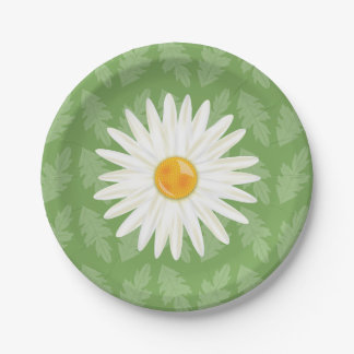 Daisy Flower Illustration On A Green Background Paper Plate
