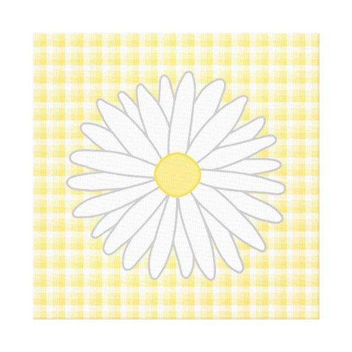 Daisy Flower in Yellow and White. Gallery Wrap Canvas