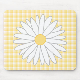 Daisy Flower in Yellow and White Mouse Pads
