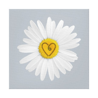 Daisy Flower Love Art Customize Background Gallery Wrap Canvas