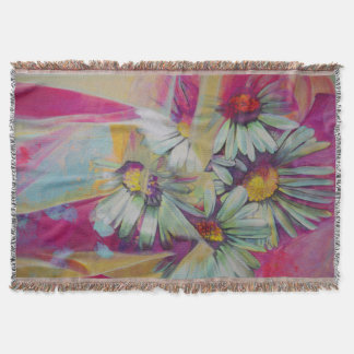 Daisy Flower Painting Throw Blanket