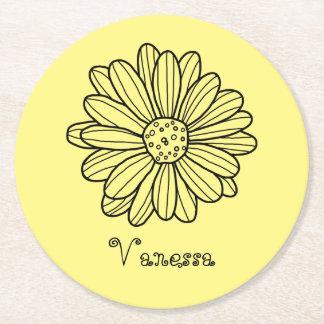 Daisy Flower Round Paper Coaster