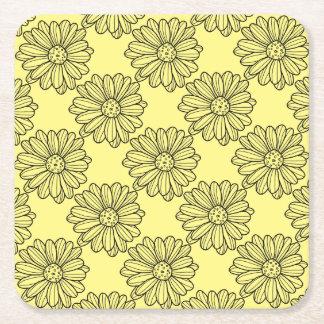 Daisy Flower Square Paper Coaster