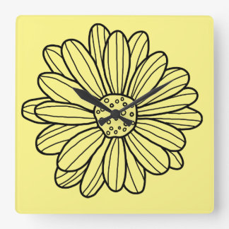 Daisy Flower Square Wall Clock