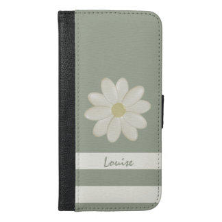 Daisy Flower Stripes iPhone 6/6s Plus Wallet Case