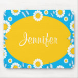Daisy Flowers Blue & Yellow Personalised Mousepad